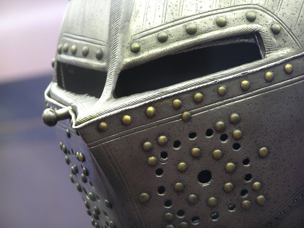 A Knight's suit of armour helmet stock photo
