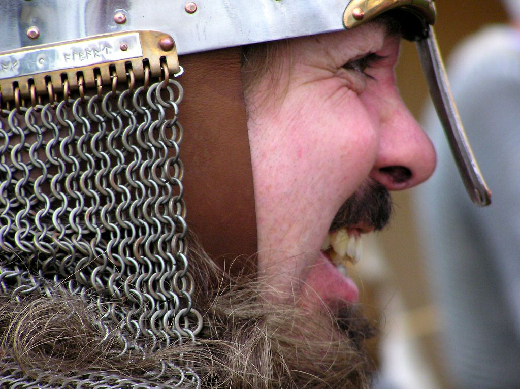 Military History - Norman Warrior's helmet with nose protection and chain mail