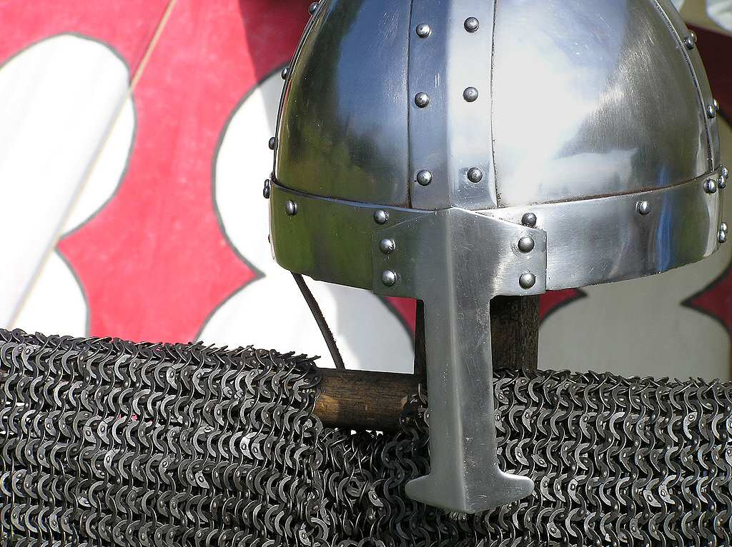 Military History - Viking armoured helmet with nose protection (no horns) and chain mail
