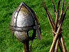 Military History - Christian Saxon Warriors Helmet and Training Spears