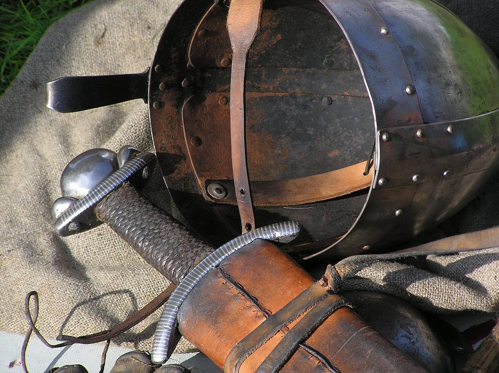1066 Military History - Armoured Helmet with nose protection and Sword used by Norman Men at Arms