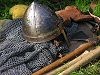 Norman Knight's Mail Coat and armoured helmet with nose guard and battle axe