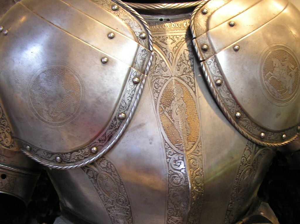 The chest protection on a Knight's suit of armour