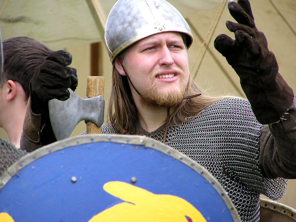 Military History - Viking Warrior with shield, chain mail, fighting axe and helmet (no horns)